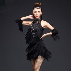 6ff120eaba95c Champagne red black royal blue rhinestones lace fringes sexy competition  women's ladies latin salsa cha cha dance dresses