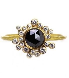 Laurie Kaiser Black and White Diamond Sprinkles Ring. www.lauriekaiser.com