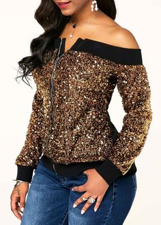 Zipper Front Sequin Embellished Off the Shoulder Sweatshirt Fashion Wear, Look Fashion, Fashion Outfits, Latest African Fashion Dresses, African Print Fashion, Ropa Interior Calvin, Off The Shoulder Top Outfit, Hot Topic Clothes, Rocker Outfit