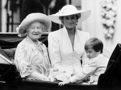 The Queen Mother, The Princess of Wales, and Prince William.