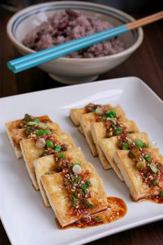 easy and quick Korean style pan fried tofu with soy sauce chili dressing (omit shrimp powder)
