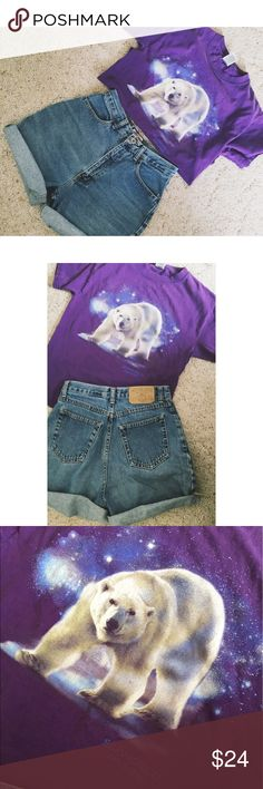Vintage Sea World Polar Bear Purple Graphic Tee This shirt is so cool. Featuring a friendly polar bear, this vintage graphic Sea World tee is perfectly worn and looks great tucked into a pair of high waisted shorts. Unisex size small. Shorts available in a different listing! Tops Tees - Short Sleeve