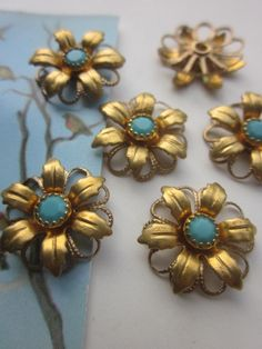 Vintage Swarovski Turquoise  Crystal Flower by WhoKnowsWhat