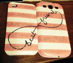 Matching phone cases :) even iPhone and Samsung matching ones Best Cell Phone, Cell Phone Cases, Iphone Cases, Bff Shirts, Best Friend Shirts, True Friends, Best Friends, Bff Cases, Matching Phone Cases