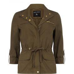 Khaki gold trim safari jacket ($69) ❤ liked on Polyvore