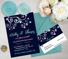 Wedding invitation tree and circles blue di WhatAPrintableWorld