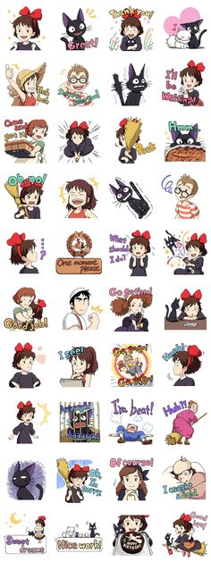 Stickers from Kiki& Delivery Service by Studio Ghibli. This set features, Jiji, Tombo, Osono the baker, and other familiar faces from the film. Studio Ghibli Quotes, Art Studio Ghibli, Studio Ghibli Tattoo, Studio Ghibli Movies, Tattoo Studio, Anime Stickers, Kawaii Stickers, Cute Stickers, Kiki Delivery