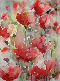 "Saatchi Art Artist Karin Johannesson; Painting, ""Poppy Field V"" #art"