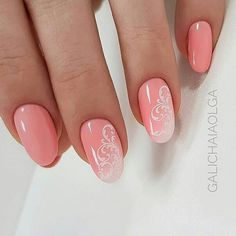 Pink nails with ombré