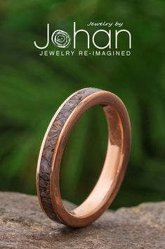 Jewelry by Johan's custom wedding bands for women have unique materials, like dinosaur bone. #JewelrybyJohan Dinosaur Bone Ring, Dinosaur Bones, Pattern Meaning, Fossil Jewelry, Womens Wedding Bands, Dark Colors, Laser Engraving, At Least, Rings For Men