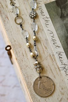 French beauty. romantic,bohemian,french coin,charm necklace. Tiedupmemories