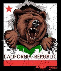 The California Republic California Bear Tattoos, California Logo, Miss California, California Republic, Arte Cholo, Cali Style, Bear Art, Teddy Bear, Drawings