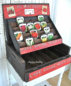 Antique Lake Shore Seed Co Dunkirk NY Vintage Seed Packet Box Display Cabinet | eBay