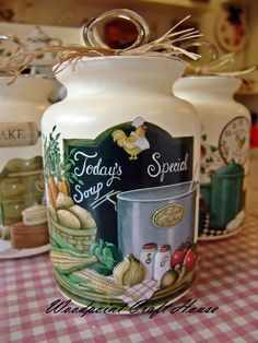 #diy #handmade #woodpointcrafthouse #gift #painting #countrypainting #decopage #stencil #handpainting Decoupage Glass, Decoupage Box, Decoupage Vintage, Bottle Painting, Diy Painting, Painting On Wood, Painted Milk Cans, Painted Jars, Bottles And Jars