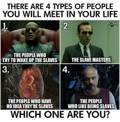 There are 4 types of people you will meet in your life. The people who try to wake up the slaves. The slave masters. The people who have no idea they're slaves. The people who like being slaves. Black History Facts, Question Everything, Types Of People, Which One Are You, Hard Truth, New World Order, The Only Way, Real Talk, Wake Up
