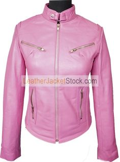 Women's Tab Collar Light Pink Biker Leather Jacket