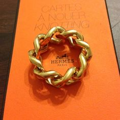 Hermes gold scarf ring Gold knotted Hermes scar ring Hermes Jewelry Rings