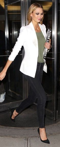 Karlie Kloss in White Blazer, Green Tee, Black denim and Heels