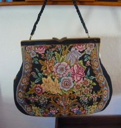 Needlepoint Vintage Purse 1940 with real by vintagefindings1, $25.00  Just reduced...