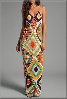 Handmade Crochet Vintage-Inspired 70s Granny Squares Multii-Color Maxi Dress- Made to Order