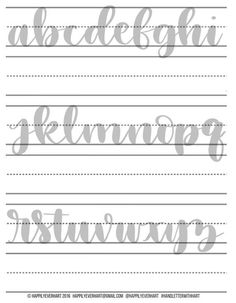 Large Hand Lettering Practice Sheets – Brush Pen – Brush Marker – Water Brush – Crayola – Hand Lette Great hand lettering exercise sheets brush pen by HappilyEverHart Lettering Brush, Brush Lettering Worksheet, Calligraphy Worksheet, Lettering Guide, Hand Lettering Alphabet, Creative Lettering, Calligraphy Practice, Waterbrush Lettering, Crayola Calligraphy