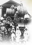 Early wine production at Lindemans, established in the Hunter Valley (New South Wales) in 1843. Image courtesy of Lindemans.