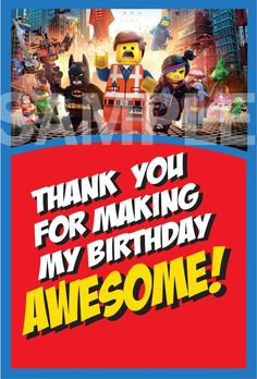 The Lego Movie Thank You Cards 4 x 6 by TrulyMarvelous on Etsy