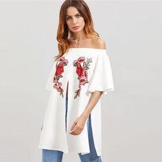 Floral Off Shoulder Embroidered Blouse