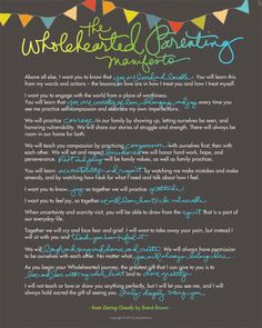 Brene Brown is one of my hero's.  This is her wholehearted parenting manifesto.   I can't wait to read her new book : Daring Greatly