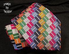 Bullock-Jones-Mens-Tie-412-Multi-Colored-Squares-NWOT-57-in-x-3-75