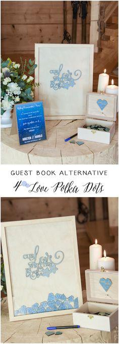 Wedding Guest Book Alternative - Dropbox Frame #weddingideas #rustic #wood #wooden #dropbox #weddingguestbook #blue #countrywedding