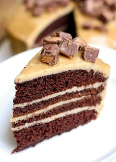 Homemade Chocolate Cake with Caramel Frosting - YUM!