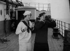"gifthesilverscreen: "" The Navigator (1924) Buster Keaton / Kathryn Maguire """