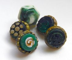 Lot 5 Small Antique Victorian Waistcoat Buttons Green Glass Patterns