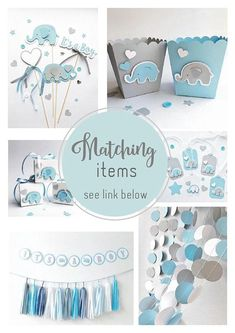 Elephant Centerpieces, Boy Baby Shower Centerpieces, Blue Gray Its a Boy Centerpieces, Baby Boy Show Juegos Baby Shower Niño, Idee Baby Shower, Mesas Para Baby Shower, Shower Bebe, Baby Shower Backdrop, Baby Shower Table, Baby Boy Shower, Baby Shower Gifts, Baby Gifts