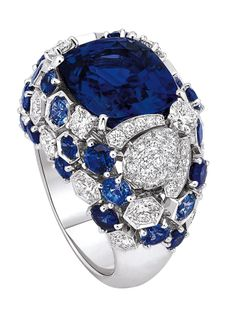 Bee my love ring in 18-carat white gold, diamonds, sapphires