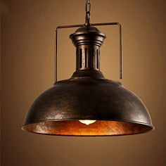 """Vintage Industrial Nautical Barn Pendant Light, MKLOT 15.75"""" Wide Pendant Lamp with Rustic Dome/Bowl Shape Mounted Fixture Ceiling Light Chandelier in Copper 1-Light with Chain"""