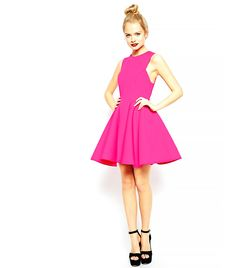ASOS Premium Bonded Fit and Flare Dress in Hot Pink