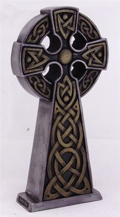 Standing Celtic Cross, Cold Cast Resin with Polished Gunmetal Finish