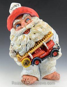 Fireman Santa - Hand carved, solid wood by artist David Sabol.