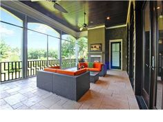 Screened in porch, dual ceiling fans, contemporary outdoor sofas, fire place- LJKoike Charleston, SC