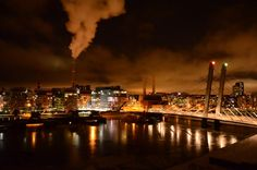 Helsinki, Crusell bridge by night.