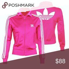 67bb78853901 💗ADIDAS ORIGINALS Hot Pink   White Track JACKET BRAND NEW!! Super cute Hot