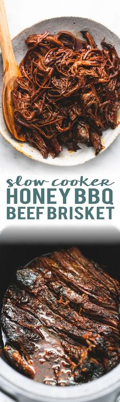Slow Cooker Honey BBQ Beef Brisket | http://lecremedelacrumb.com