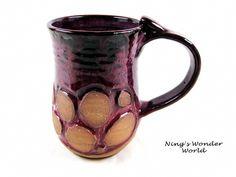 Pottery mug, Handmade mug, Ceramic mug, Coffee mug, Beer Stein, Tea mug, Purple, Large, 24 oz. (In stock). $28.00, via Etsy.