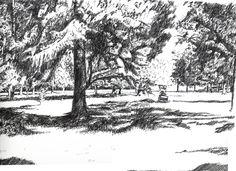 Musonville park near Bordeaux - France. Black ink drawing by Nicolas Jolly