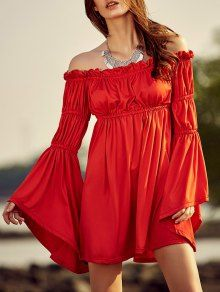Cold Shoulder Bell Sleeve Red Dress - Red