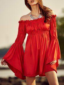 Cold Shoulder Bell Sleeve Red Dress - Red