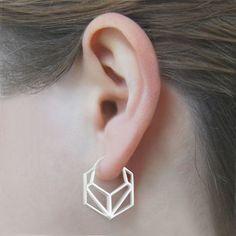 Geometric Hexagonal Rose Gold Hoop Earrings - Otis Jackson