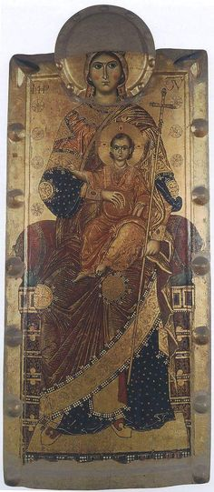 Virgin on the throne with Flumine, 13 in., Naples, Museum of Capodimonte Religious Images, Religious Icons, Religious Art, Byzantine Icons, Byzantine Art, Russian Icons, Russian Art, Christian Artwork, Best Icons